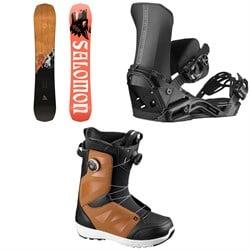Salomon Assassin Snowboard + District Snowboard Bindings + Launch Boa SJ Snowboard Boots 2021
