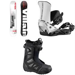Salomon The Villain Snowboard + District Snowboard Bindings + Launch Boa SJ Snowboard Boots 2021