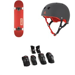 Globe Goodstock Skateboard Complete ​+ Triple 8 Sweatsaver Liner Skateboard Helmet ​+ Saver Series High Impact Jr Pad Set