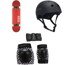 Globe Goodstock Skateboard Complete ​+ Pro-Tec The Classic Certified EPS Skateboard Helmet ​+ Street Gear Junior Skateboard Pads