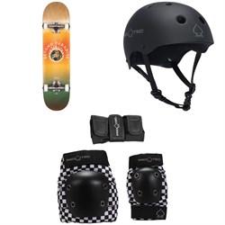 Globe G1 Ablaze 7.75 Skateboard Complete + Pro-Tec The Classic Certified Skateboard Helmet + Pro-Tec Street Gear Junior Skateboard Pads