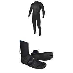 O'Neill 4.5​/3.5 Mutant Legend Chest Zip Hooded Wetsuit ​+ Mutant 3mm Split Toe Wetsuit Boots