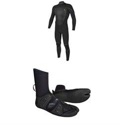 O'Neill 4.5/3.5 Mutant Legend Chest Zip Hooded Wetsuit + Mutant 3mm Split Toe Wetsuit Boots