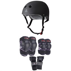 Triple 8 The Certified Sweatsaver Skateboard Helmet + Saver Series Color Collection Skateboard Pad Set