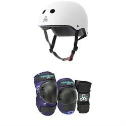 Triple 8 The Certified Sweatsaver Skateboard Helmet + Galaxy 3 Pack Skateboard Pad Set - Kids'