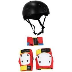 Pro-Tec Classic Skate Skateboard Helmet + Street Gear Junior Skateboard Pads 3- Kids'