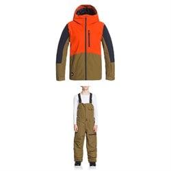 Quiksilver Ambition Jacket + Utility Bibs - Boys'