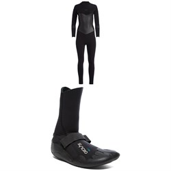 Roxy 4​/3 Syncro Back Zip GBS Wetsuit ​+ Syncro 3mm Round Toe Wetsuit Boots - Women's