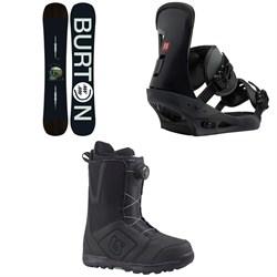 Burton Instigator Snowboard  + Freestyle Snowboard Bindings 2019 + Moto Boa Snowboard Boots 2018