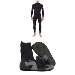 Rip Curl 4/3 Dawn Patrol Back Zip Steamer Wetsuit + Dawn Patrol 3mm Split Toe Boots