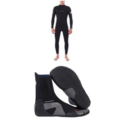 Rip Curl 4/3 Dawn Patrol Back Zip Steamer Wetsuit + Dawn Patrol 3mm Round Toe Boots