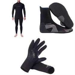 Rip Curl 4/3 Dawn Patrol Chest Zip Wetsuit + Dawn Patrol 3mm Round Toe Boots + Dawn Patrol 3mm Wetsuit Gloves