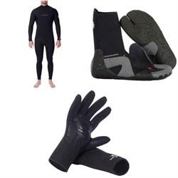 Rip Curl 4/3 Dawn Patrol Chest Zip Wetsuit + Dawn Patrol 3mm Split Toe Boots + Dawn Patrol 3mm Wetsuit Gloves