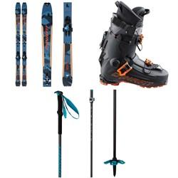 Dynafit Seven Summits+ Complete Alpine Touring Ski Set + Hoji Pro Tour Alpine Touring Ski Boots + Speed Vario 2.0 Adjustable Ski Poles 2021