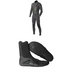 Vissla 7 Seas 4/3 Chest Zip Wetsuit + 7 Seas 3mm  Split Toe Wetsuit Boots