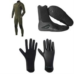 Vissla 7 Seas 4/3 Chest Zip Wetsuit + 7 Seas 3mm Split Toe Wetsuit Boots + 1.5mm High Seas Wetsuit Gloves