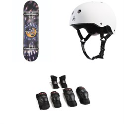 Globe G1 Ablaze 8.0 Skateboard Complete ​+ Triple 8 Sweatsaver Liner Skateboard Helmet ​+ Saver Series High Impact Adult Skateboard Pad Set