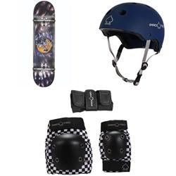 Globe G1 Ablaze 8.0 Skateboard Complete + Pro-Tec The Classic Certified EPS Skateboard Helmet + Street Gear Junior Skateboard Padset