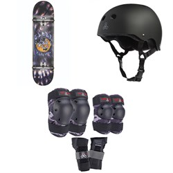Globe G1 Ablaze 8.0 Skateboard Complete ​+ Triple 8 Sweatsaver Liner Skateboard Helmet ​+ Saver Series Color Collection Skateboard Pad Set