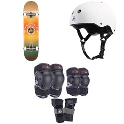 Globe G1 Ablaze 7.75 Skateboard Complete ​+ Triple 8 Sweatsaver Liner Skateboard Helmet ​+ Saver Series Color Collection Skateboard Pad Set