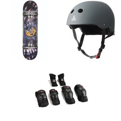 Globe G1 Ablaze 8.0 Skateboard Complete ​+ Triple 8 The Certified Sweatsaver Skateboard Helmet ​+ Saver Series High Impact Adult Skateboard Pad Set
