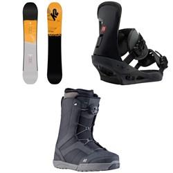 K2 Raygun Pop Snowboard  + Burton Freestyle Snowboard Bindings 2019 + K2 Raider Snowboard Boots