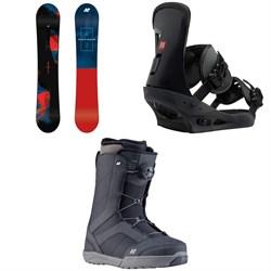 K2 Raygun Snowboard 2019 + Burton Freestyle Snowboard Bindings 2019 + K2 Raider Snowboard Boots