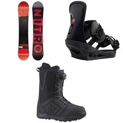 Nitro Prime Screen Snowboard  + Burton Freestyle Snowboard Bindings 2019 + Moto Boa Snowboard Boots 2018