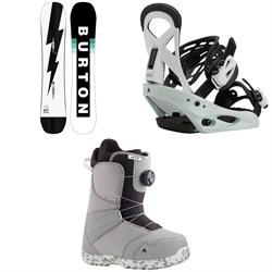 Burton Custom Smalls Snowboard + Smalls Snowboard Bindings + Zipline Boa Snowboard Boots - Kids' 2021