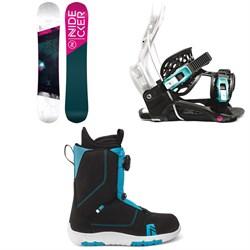 Nidecker Flake Snowboard + Flow Micron Youth Snowboard Bindings + Nidecker Micron Boa Snowboard Boots - Kids' 2021
