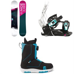Nidecker Flake Snowboard + Flow Micron Youth Snowboard Bindings + Nidecker Micron Boa Snowboard Boots - Kids' 2022
