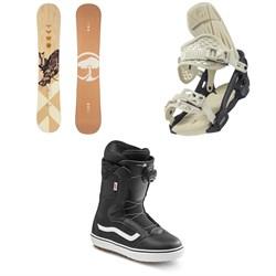 Arbor Cadence Rocker Snowboard + Acacia Snowboard Bindings + Vans Encore OG Snowboard Boots - Women's 2021