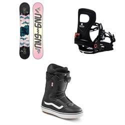 GNU Asym Velvet C2 Snowboard + Bent Metal Metta Snowboard Bindings + Vans Encore OG Snowboard Boots - Women's 2021