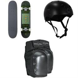 Arbor Whiskey 8.0 Recruit Skateboard Complete + Pro-Tec Classic Skate Skateboard Helmet + Street Skateboard Knee Pads