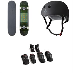 Arbor Whiskey 8.0 Recruit Skateboard Complete ​+ Triple 8 The Certified Sweatsaver Skateboard Helmet ​+ Saver Series High Impact Skateboard Pad Set