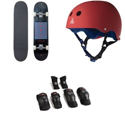 Arbor Whiskey 7.75 Recruit Skateboard Complete ​+ Triple 8 Sweatsaver Liner Skateboard Helmet ​+ Saver Series High Impact Skateboard Pad Set