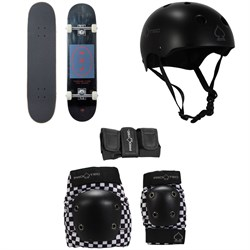 Arbor Whiskey 7.75 Recruit Skateboard Complete ​+ Pro-Tec Classic Skate Skateboard Helmet ​+ Street Gear Junior Skateboard Pads
