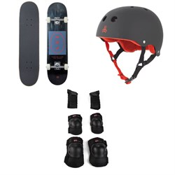 Arbor Whiskey 7.75 Recruit Skateboard Complete ​+ Triple 8 Sweatsaver Liner Skateboard Helmet ​+ Little Tricky Jr. Skateboard Pad Set