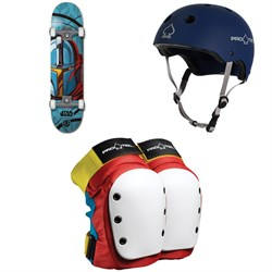 Element Star Wars Mando 8.0 Skateboard Complete + Pro-Tec The Classic Certified EPS Skateboard Helmet + Street Skateboard Knee Pads