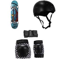 Element Star Wars Mando 7.75 Skateboard Complete + Pro-Tec Classic Skate Skateboard Helmet + Street Gear Junior Skateboard Pads
