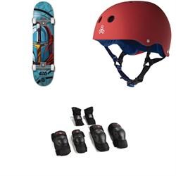 Element Star Wars Mando 7.75 Skateboard Complete + Triple 8 Sweatsaver Liner Skateboard Helmet + Saver Series High Impact Jr Pad Set