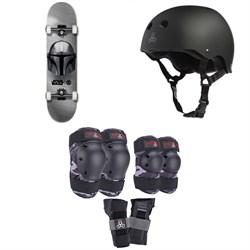 Element Star Wars Beskar 7.75 Skateboard Complete + Triple 8 Sweatsaver Liner Skateboard Helmet + Saver Series Color Collection Jr Pad Set