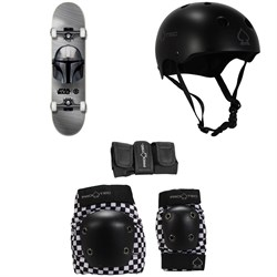 Element Star Wars Beskar 7.75 Skateboard Complete + Pro-Tec Classic Skate Skateboard Helmet + Street Gear Junior Skateboard Pads