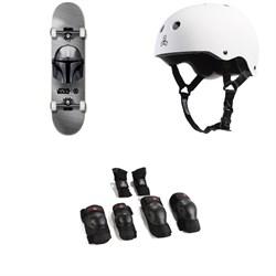 Element Star Wars Beskar 8.0 Skateboard Complete + Triple 8 Sweatsaver Liner Skateboard Helmet + Saver Series High Impact Pad Set