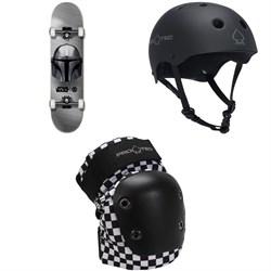Element Star Wars Beskar 8.0 Skateboard Complete + Pro-Tec The Classic Certified EPS Skateboard Helmet + Street Skateboard Knee Pads