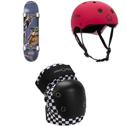 Element Star Wars Mando Child 8.0 Skateboard Complete ​+ Pro-Tec Classic Skate Skateboard Helmet ​+ Street Skateboard Knee Pads