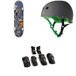 Element Star Wars Mando Child 8.0 Skateboard Complete ​+ Triple 8 Sweatsaver Liner Skateboard Helmet ​+ Saver Series High Impact Skateboard Pad Set