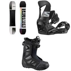 Salomon Huck Knife Snowboard + Hologram Snowboard Bindings + Launch Boa SJ Snowboard Boots 2021