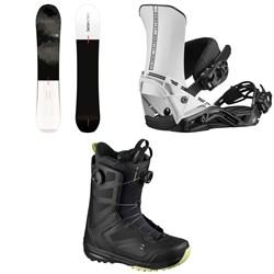 Salomon Super 8 Snowboard + District Snowboard Bindings + Dialogue Focus Boa Snowboard Boots 2021