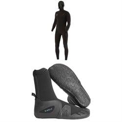 Vissla 7 Seas 5/4 Chest Zip Hooded Wetsuit + 7 Seas 5mm Round Toe Wetsuit Boots